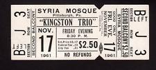 The Kingston Trio - Nov 17, 1961 - UNUSED ticket - Pittsburgh, PA (NR MT)