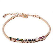 Gold Sparkling Strand Bracelet Multicolour CZ Crystals Adjustable Stackable