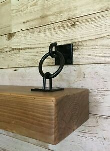 2 x Hook & Chain Black Rustic / Floating / Hanging Shelf Brackets Multibuy Offer