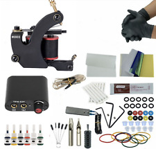 Complete Tattoo Kit Rotary Machine Power Supply Set 6 Color Ink Needle