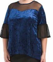 NWT $54 FORGOTTEN GRACE 2X Plus NAVY Crushed Velvet BLOUSE USA MESH TUNIC top