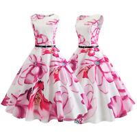 Women's Retro Summer Floral Petal Sleeveless High Waist Rockabilly Skater Dress