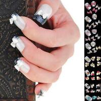 Bowknot 3D Crystal Rhinestone Nail Art Tips Glitter DIY Decor Manicure Nail Care