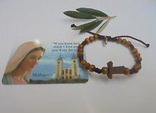 Peace rosary Bracelet  Tau Cross OLIVE WOOD Handmade Medjugorje Our Lady-Jesus