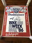 Vintage Harley Davidson Budweiser Beer Daytona Beach Bike Week 1986 Poster