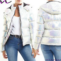 NEW WOMENS LADIES QUILTED WINTER COAT PUFFER HOODED METALLIC JACKET PARKA SIZE