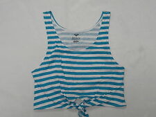 Roxy Woman Beach Babe Striped Blue & White (WBB0) Crop Top Sz Medium