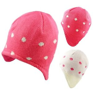 Baby Beanie Hat with Ear Flaps Girls Knitted Warm Winter Polka Dots 0-3 3-6 M
