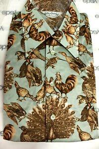VTG Oleg Cassini Mens 1970s Disco Slinky Shirt Nylon NOS  M & L Peacock Birds