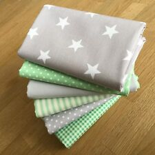 LIGHT GREY & MINT GREEN Fat Quarter Bundle {B} SPOT STRIPE STAR GINGHAM FABRIC