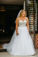White Satin Tulle Beaded Princess-style Wedding Dress With Train