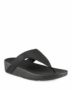 Fitflop Women's Lulu Glitzy Fit Flop Flip Flop Wedge Sandals Black NEW Size 7