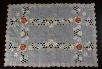Organza Embroidered Lace Handmade Rose Table Placemats Runner Dresser sofa Cover