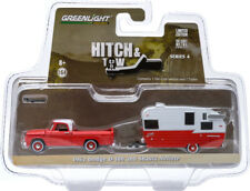 Greenlight 1962 Dodge D-100 and Shasta 15' Airflyte Red/ White 1/64 Car 32040-A