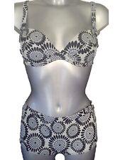 New Black & White Bikini 32C & 12 Boyshorts Shorts & Underwired Padded Cups