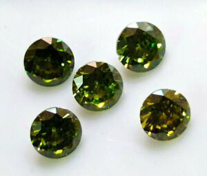 3.93 Cts 5 MM 5 Pcs Zircon Green Color Round Cut Loose Gemstone Lot
