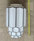 "ART DECO  SKYSCRAPER  CEILING LIGHT GLOBE  LARGE  16"" TALL  VINTAGE  C. 1930"