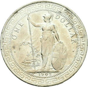 LANZ INDIA GREAT BRITAIN TRADE DOLLAR 1902 BOMBAY SILVER ^HL153