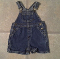 Faded Glory Boy's Size 18Months 100% Cotton Blue Denim Shortalls