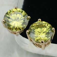Hot Apple Green Peridot Gems Jewelry Yellow Gold Filled Stud Lady Earrings H1872