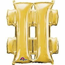 "Symbol  # Gold Foil Balloon 16"" 40cm Air Fill Age Name Birthday Anniversary"
