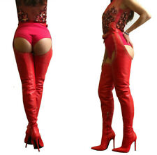 CQ COUTURE CUSTUM BELT OVER THE KNEE STUDS BOOT CROTCH ITALY LEATHER RED 13 44