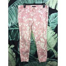 Daisy Fuentes Pink White Splatter Skinny Straight Leg Jeans Pants Size 12
