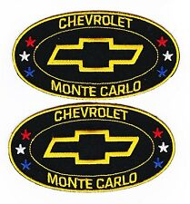 2 CHEVROLET MONTE CARLO SEW/IRON ON PATCH BADGE EMBLEM EMBROIDERED CHEVY