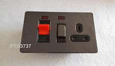 BLACK NICKEL SCREWLESS LOOK FLAT PLATE 45A COOKER CONTROL UNIT NEON & 13A SOCKET