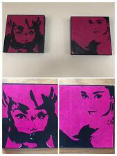 Audrey Hepburn Vintage Set Of 2 Pictures Wall Art Pink Black Wood Hand Painted