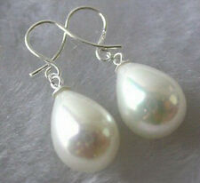 White South Sea Shell Pearl Drop 18KWGP Hook Women Lady Girl Party Earrings