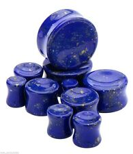 "PAIR-Stone Lapis Blue Lazuli Double Flare Ear Plugs 16mm/5/8"" Gauge Body Jewelry"
