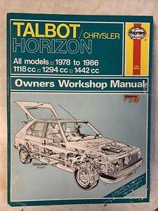 Talbot Chrysler Horizon Haynes Workshop Manual 1978-86 All Models