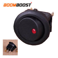 10pcs Rocker Toggle SPST Switch Car Auto Boat On/Off  Round with Red Light 12V