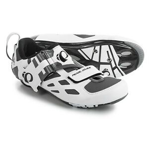 Pearl Izumi Mens Tri Fly V Triathlon Bike Cycling SPD-SL Shoe Carbon White EU41