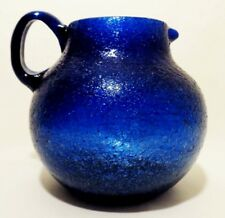 MODERNIST VINT HAND-BLOWN SEMI-TRANSPARENT BLUE BULBOUS HANDLED GLASS PITCHER