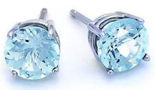 925 Sterling Silver 1ct Genuine Aquamarine Round 5mm Stud Earrings