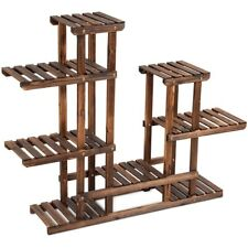 6 Tier Wooden Plant Stand Storage Shelf Outdoor Shelving 8 Individual Shelves