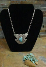 NAVAJO ALBERT CLEVELAND 2 HEADED THUNDERBIRD STERLING TURQUOISE PENDANT NECKLACE