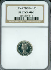 1964 CANADA 10 CENTS NGC PL-67 CAMEO 2ND FINEST GRADE SPOTLESS  ,