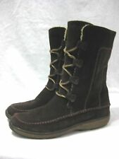 Women's TIMBERLAND FAUNA BOOTS Brown Leather Lace Up Size 9.5 Suede Nubuck Mid