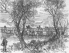 BOSNIA. Austrian Military Bridge at Doboj, antique print, 1878
