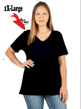 WOMEN PLUS COTTON V- NECK SHORT SLEEVE T-SHIRT **RELAXED FIT** 4XL