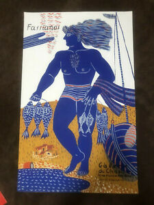 """Original French Lithographic Gallery Poster By  Fassianos """"Fisherman"""""""