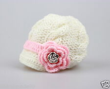 Newborn Baby Girls knit hat beanie cap crochet flower gold button Photo Prop