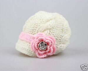 Newborn Baby Girls knit hat beanie cap crochet flower gold button Photo Prop