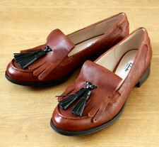 Clarks Narrative Ladies Slip on Tassle Brown Leather Loafer Shoes UK 6.5D