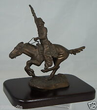 VINTAGE RUSSIAN COSSAK ON HORSE BRONZE FIGURINE,WOODEN STAND