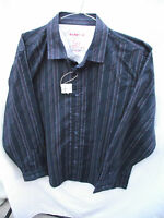 BNWT Mens Sz Large Rivers Brand Navy/Stripe Long Sleeve Slim Fit Shirt RRP $40