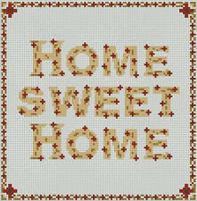 "Home Sweet Home Burgundy Counted Cross Stitch Kit 8"" x 8"" 20cm x 20cm S2205"